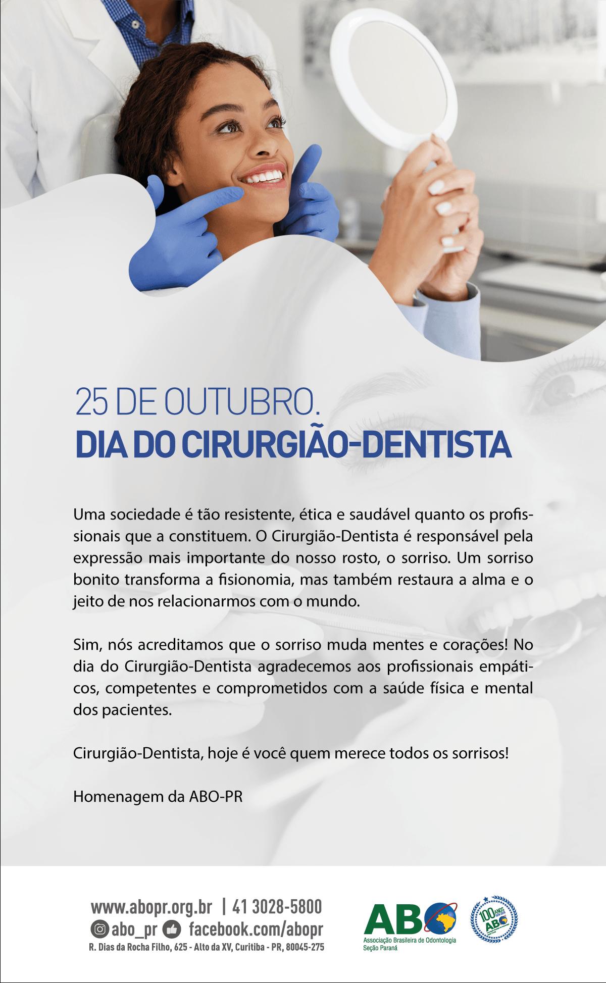 25 de outubro - Dia do Cirurgião-Dentista